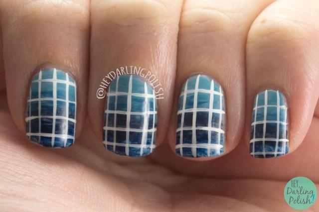 nails, nail art, nail polish, blue, gradient, grid, 31dc2015, hey darling polish,