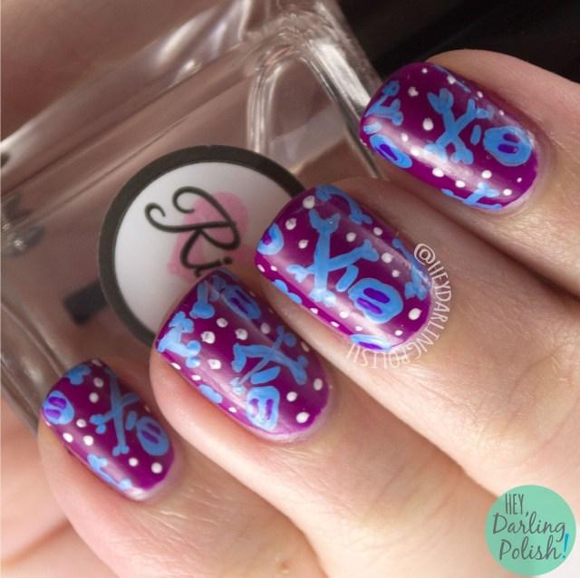 nails, nail art, nail polish, skulls, hey darling polish, purple, blue, bright, nail linkup