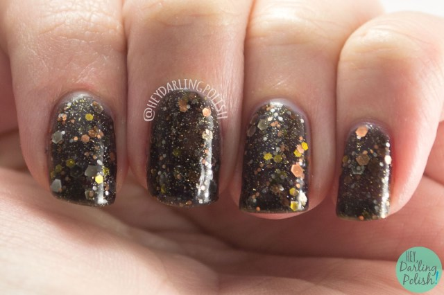 nails, nail art, nail polish, glitter, hey darling polish, kbshimmer, indie polish, band geek, black