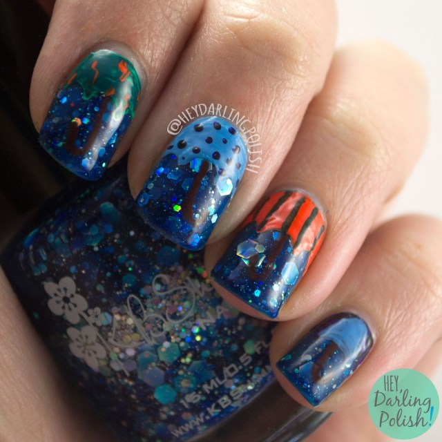 nails, nail art, nail polish, glitter, hey darling polish, kbshimmer, indie polish, blue, i got a crush on blue, umbrella,
