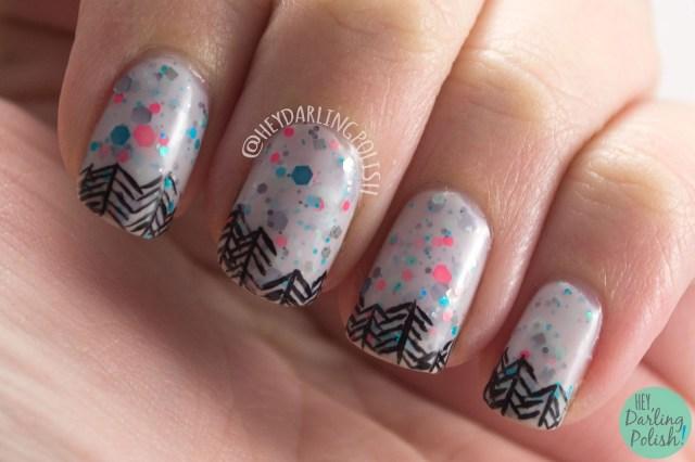 make my gray, trees, nail art, nails, nail polish, indie polish, kbshimmer, hey darling polish, glitter crelly, glitter, swatch