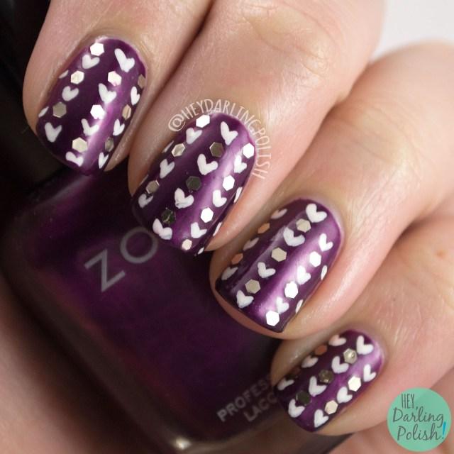 nails, nail art, nail polish, purple, hearts, glitter, glequins, hey darling polish, 52 week challenge, pattern