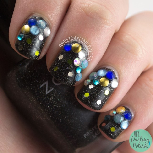 nails, nail art, nail polish, hey darling polish, rhinestones, glequins, sparkle,