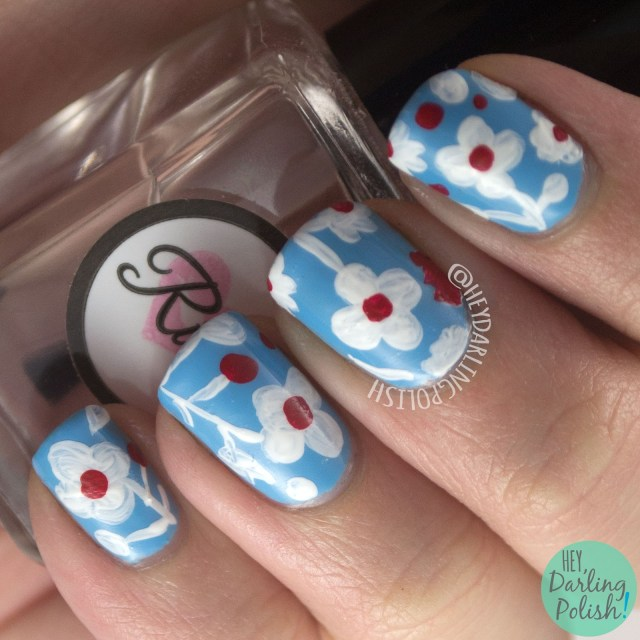 nails, nail art, nail polish, floral, flowers, hey darling polish, blue, pattern