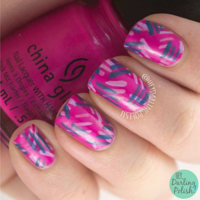 nails, nail art, nail polish, pink, hey darling polish, dashes, pattern, freehand