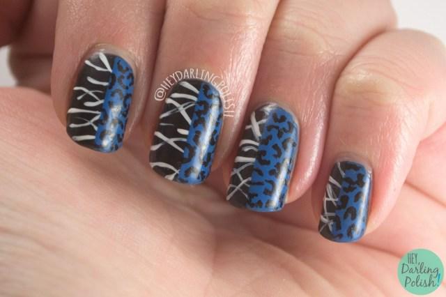 nails, nail art, nail polish, black, blue, fashion, saint laurent, lines, hey darling polish