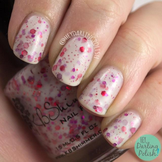 nails, nail polish, kbshimmer, pink, indie polish, falling for hue, glitter crelly,