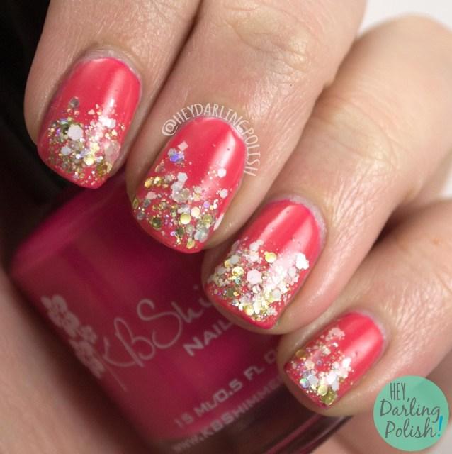 nails, nail polish, kbshimmer, pink, indie polish, let's not coral, glitter, glitter gradient, hey darling polish