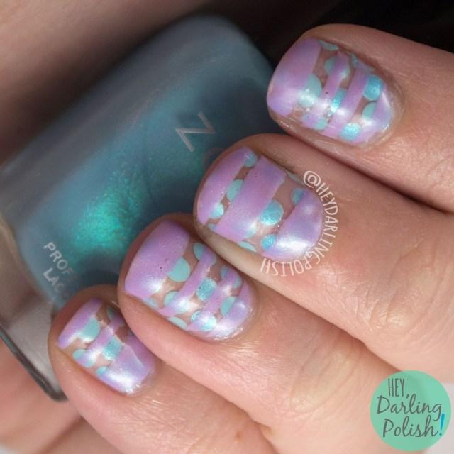 nails, nail art, nail polish, polka dots, stripes, pastels, hey darling polish, 52 week challenge, purple, blue