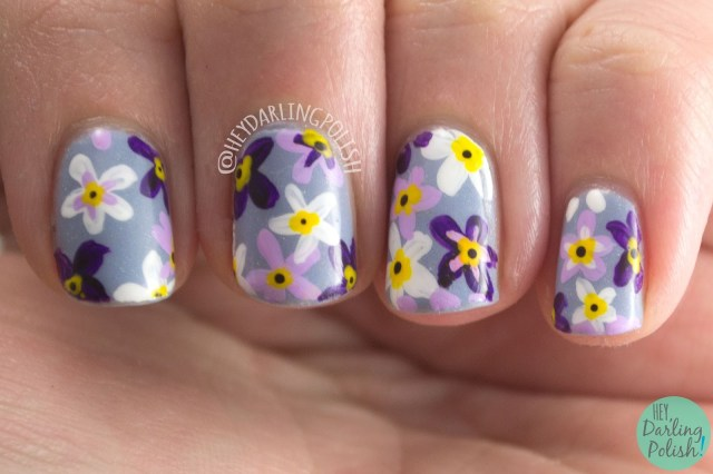 nails, nail polish, nail art, flowers, spring flowers, hey darling polish, spring, floral, black dahlia lacquer, indie polish