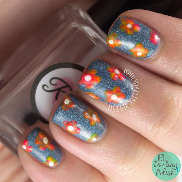 nails, nail art, nail polish, holo, indie polish, black dahlia lacquer, flowers, neon, hey darling polish