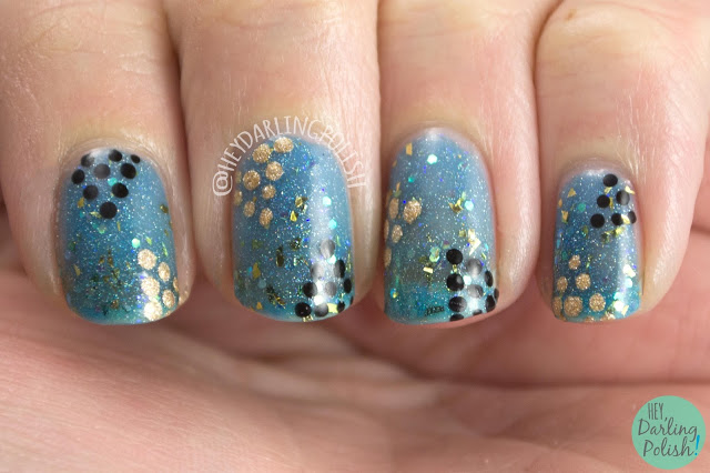 nails, nail art, nail polish, forever polished, hey darling polish, sparkles, polka dots, indie polish,
