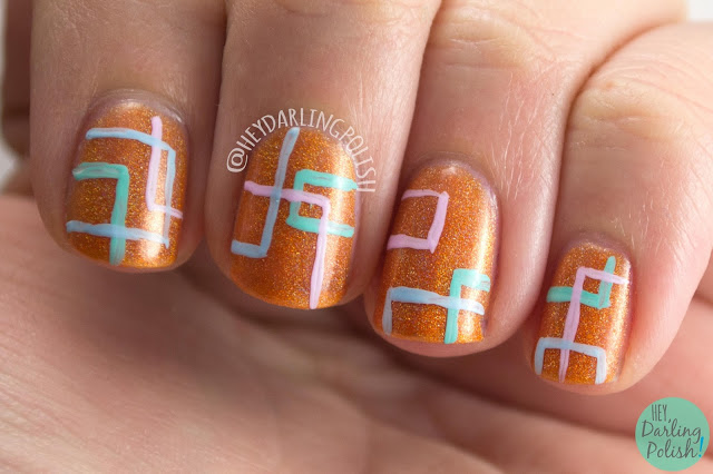 nails, nail art, nail polish, orange, holo, rectangles, hey darling polish, lynbdesigns, indie polish
