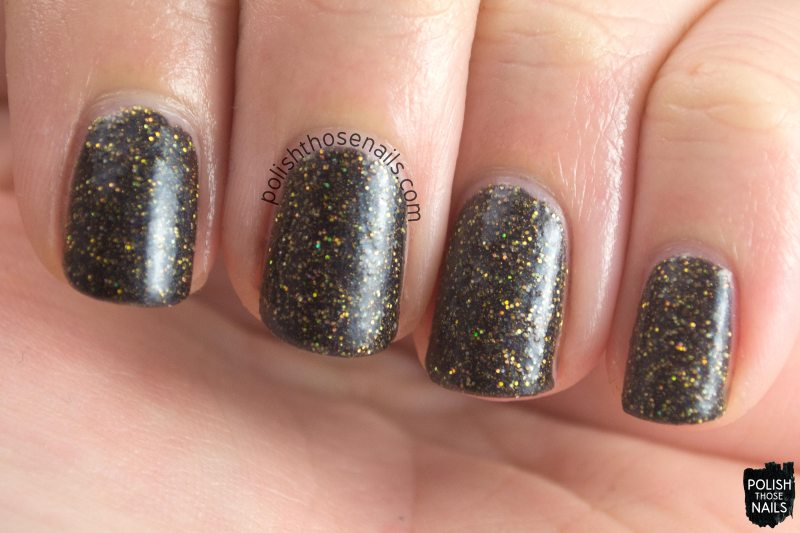 black, gold, glitter, mcalester, parallax polish, indie polish, secience collection, science