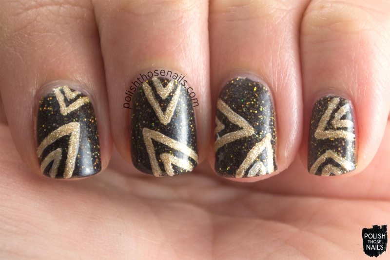 nail art, black, gold, glitter, mcalester, parallax polish, indie polish, secience collection, science