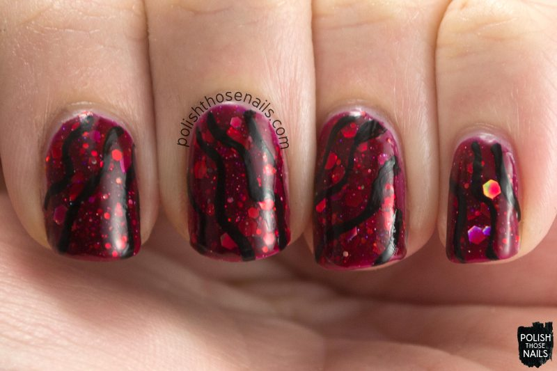 kbshimmer, leaf of faith, nail art, red, glitter crelly, indie polish, polish those nails