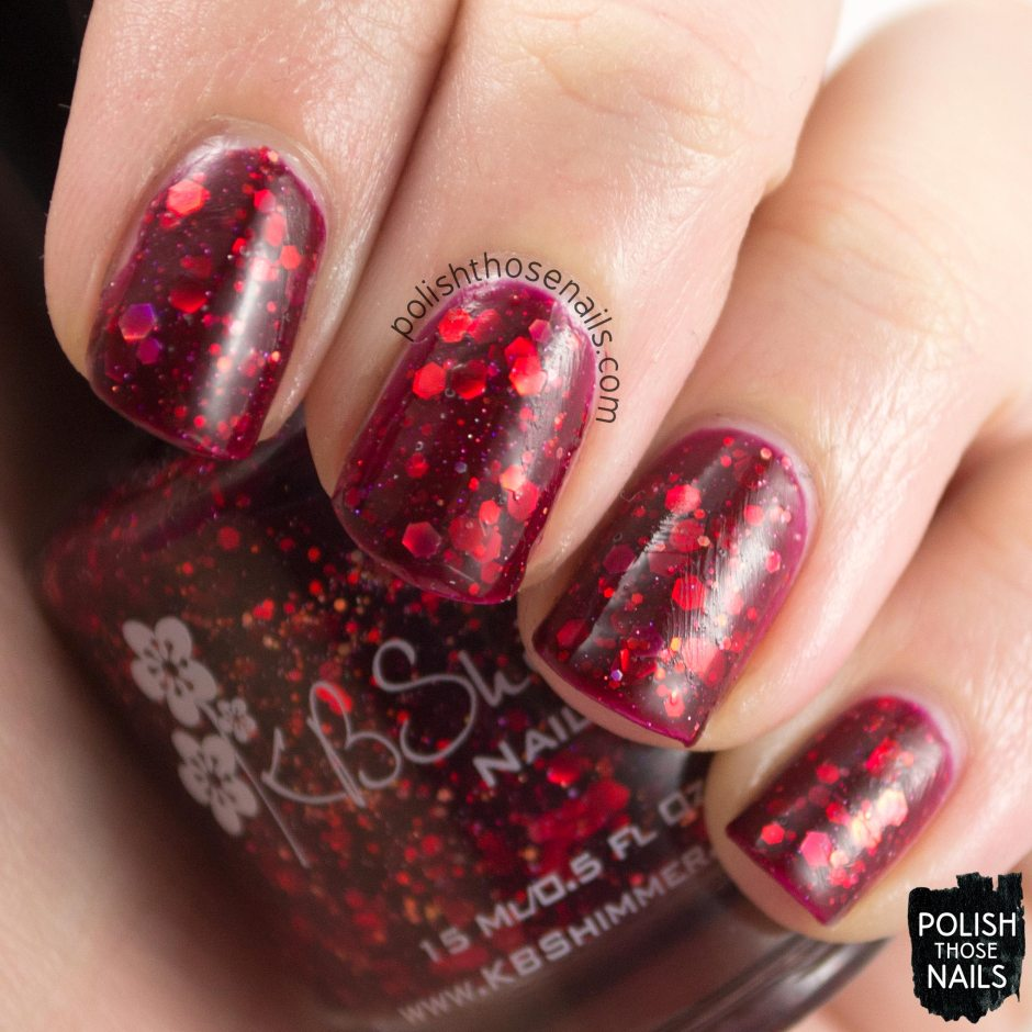 leaf of faith, red, polish those nails, swatch, kbshimmer, indie polish, glitter crelly,