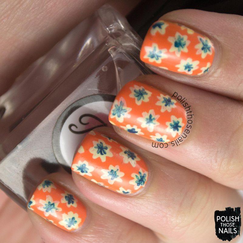 nails, nail art, nail polish, mac, orange, riot gear, flowers, floral, nail linkup, pattern, polish those nails