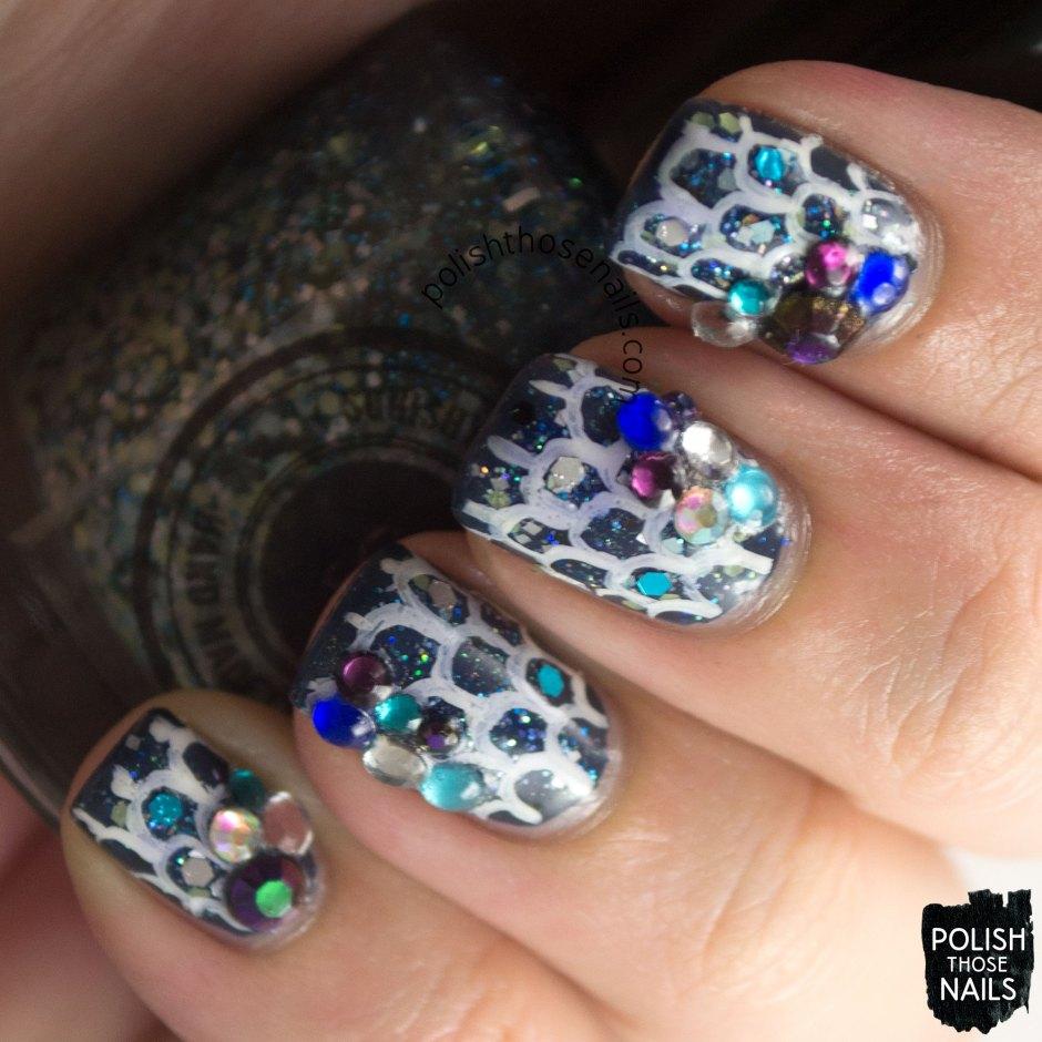 nails, nail art, nail polish, mermaid scales, rhinestones, glitter, polish those nails