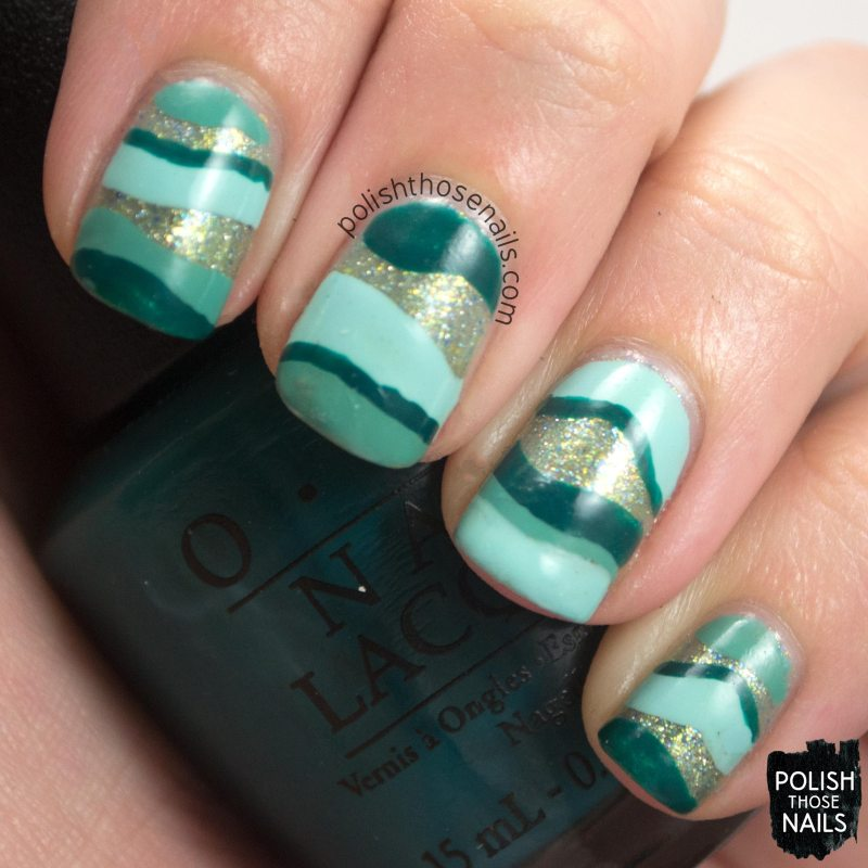 nails, nail art, nail polish, beach, waves, teal, shimmer, stripes, hobby polish bloggers