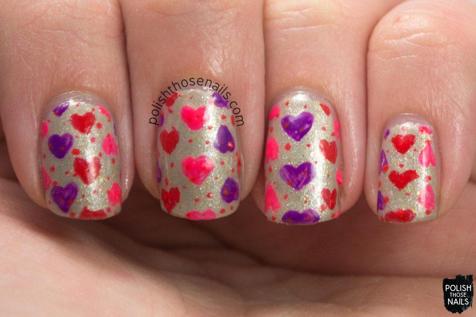 nails, nail art, nail polish, hearts, love, pattern, oh mon dieu 3, polish those nails