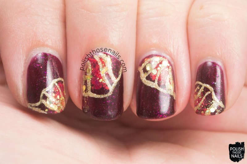 nails, nail art, nail polish, gold, red, polish those nails, oh mon dieu 3
