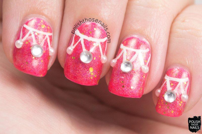 nails, nail art, nail polish, pink, sparkles, rhinestones, polish those nails, oh mon dieu 3