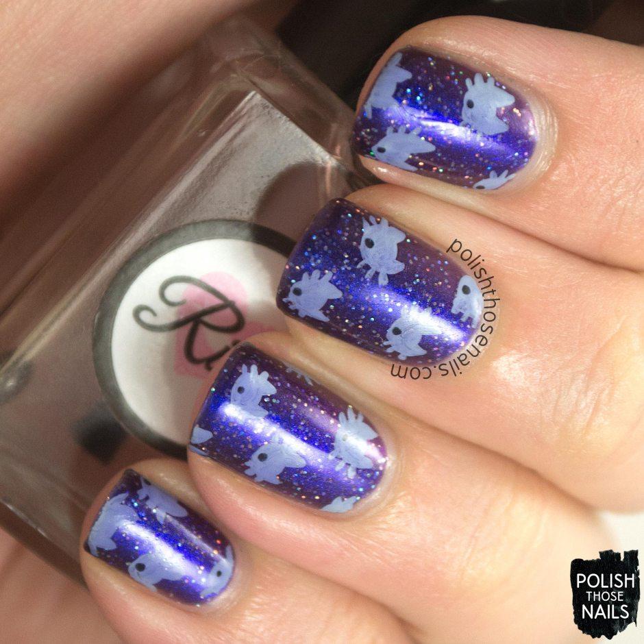 nails, nail art, nail polish, purple, sparkles, cats, kitten, polish those nails, oh mon dieu 3