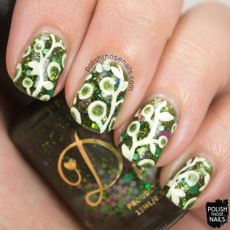 misty day, green, glitter crelly, nature nail art, pattern, nail polish, indie, indie polish, indie nail polish, delush polish, polish those nails, glitter