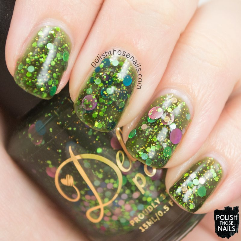 misty day, green, glitter crelly, swatch, nail polish, indie, indie polish, indie nail polish, delush polish, polish those nails, glitter