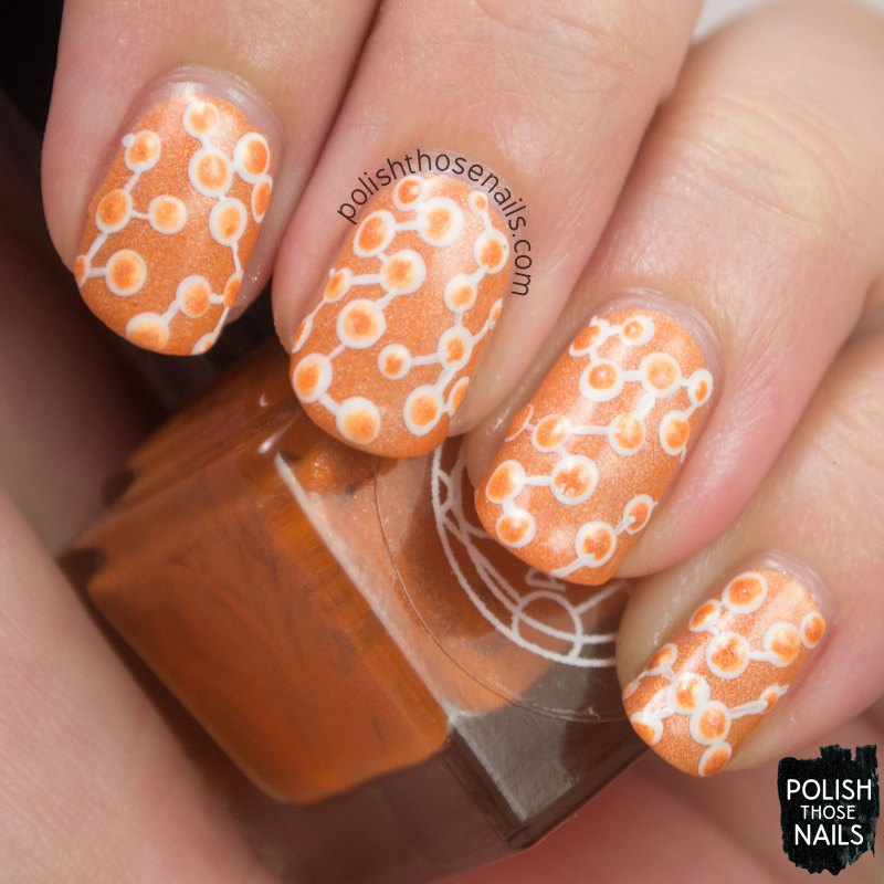 fusiform gyrus, orange, polka dots, nails, nail art, nail polish, indie, indie polish, indie nail polish, polish those nails, parallax polish