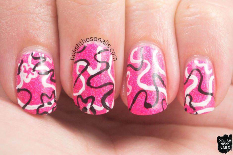 amygdala, pink, floral, 80s, nails, nail art, nail polish, indie, indie polish, indie nail polish, polish those nails, parallax polish