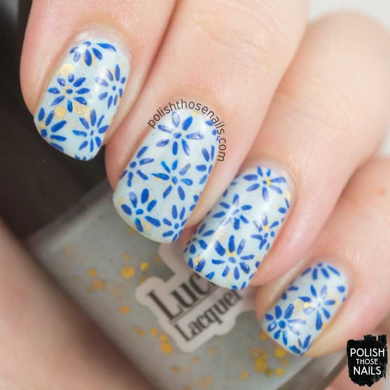 nails, nail art, nail polish, blue, lucky 13 lacquer's softening the bad things, polish those nails, pattern