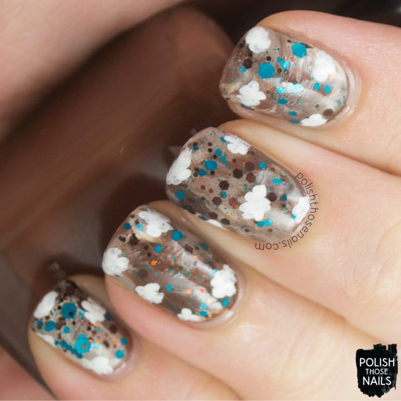 nails, nail art, nail polish, polish those nails, glitter, clouds,