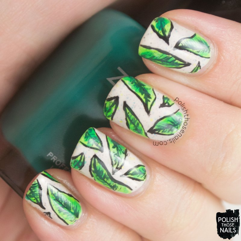 nails, nail art, nail polish, polish those nails, tropical leaves