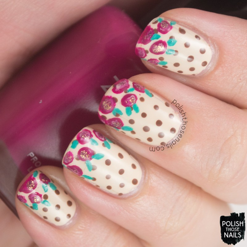 nails, nail art, nail polish, polka dots, roses, polish those nails