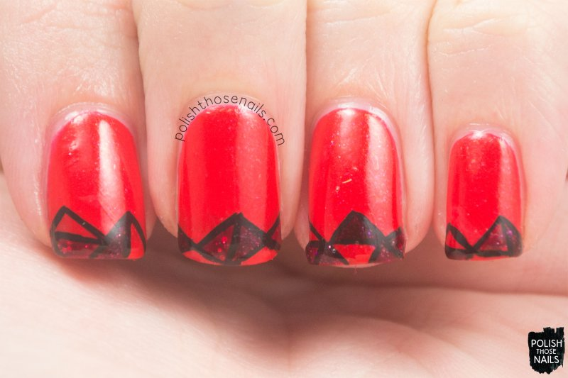 nails, nail art, nail polish, polish those nails, red, funky french tip