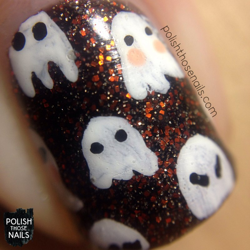 nails, nail art, nail polish, halloween, ghosts, pattern, polish those nails, macro