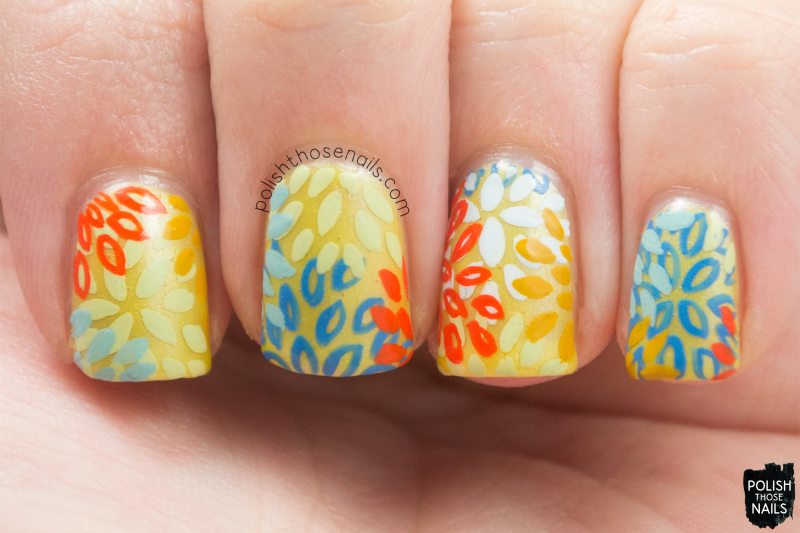 a burst of fresh flair, yellow, pattern, floral, nails, nail art, nail polish, sinfulcolors,