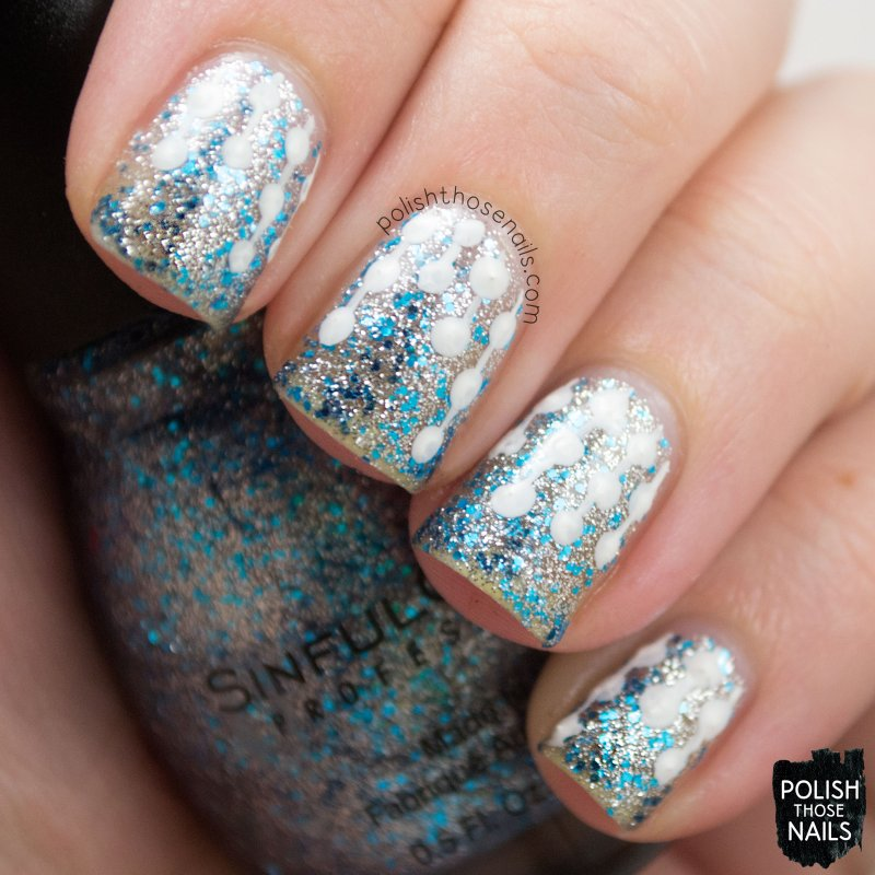 ice dream, glitter, silver, blue, nails, nail art, nail polish, sinfulcolors,