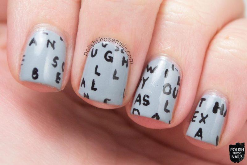 nails, nail art, nail polish, grey, typography, polish those nails
