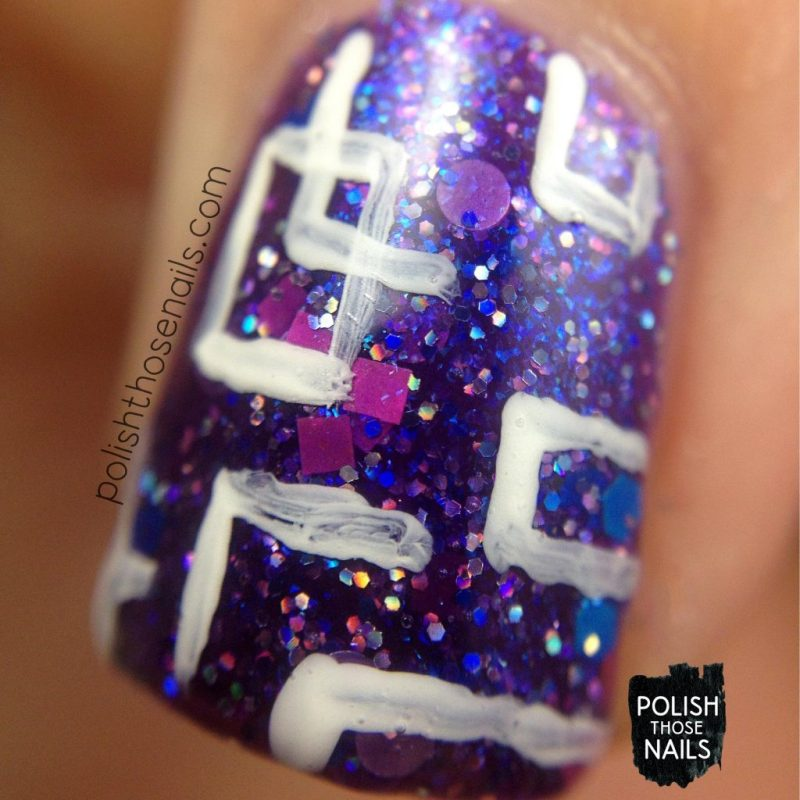 itty bitty bikini, purple, glitter, nails, nail polish, indie polish, model city polish, polish those nails, nail art, macro