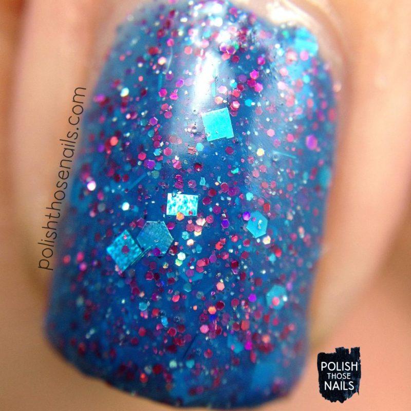 sb05 july 2015, blue, glitter, nails, nail polish, indie polish, model city polish, polish those nails, macro