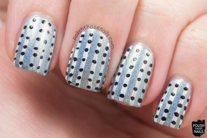 3.5 degrees, stripes, polka dots, nails, nail art, nail polish, indie polish, polish those nails, parallax polish