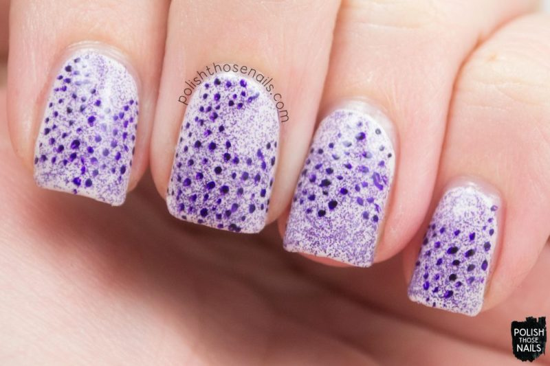 coral reef, polka dots, purple, nails, nail art, nail polish, indie polish, polish those nails, parallax polish