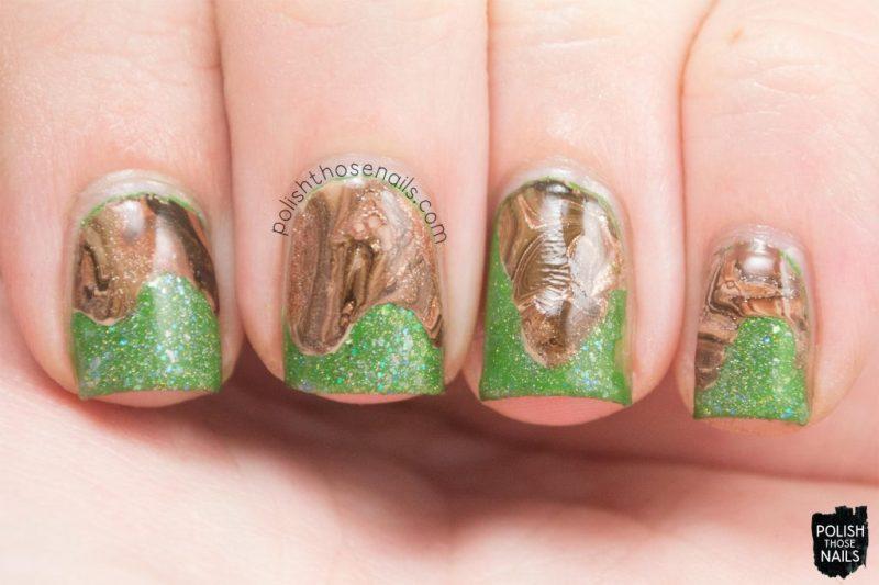 nails, nail art, nail polish, green, watermarble, brown, polish those nails,