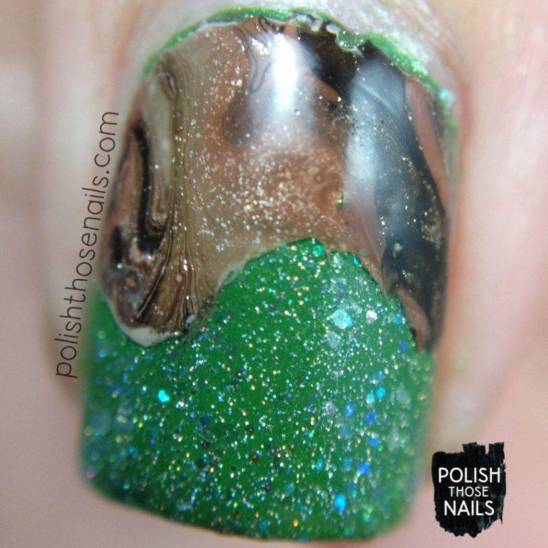 nails, nail art, nail polish, green, watermarble, brown, polish those nails, macro