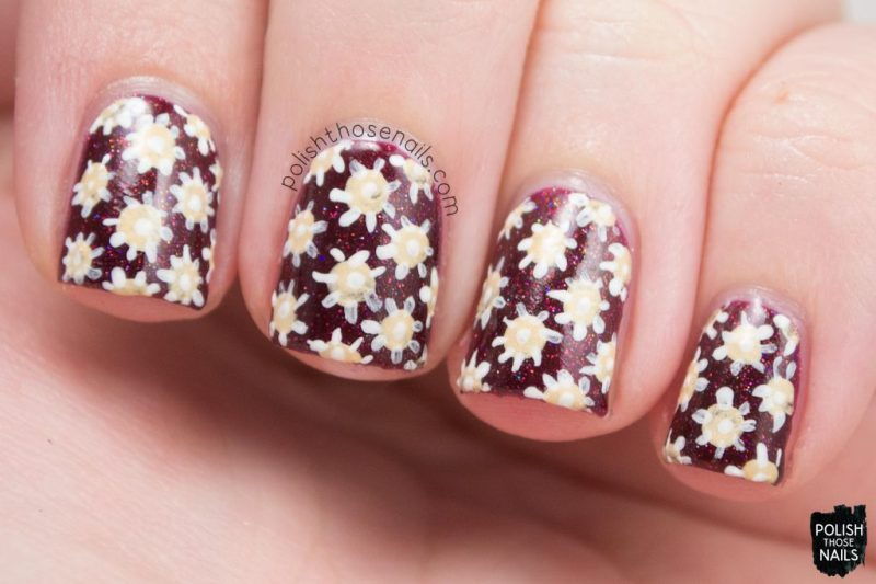 nail art, floral, deep red, click three times, nails, nail polish, indie polish, midwest lacquer, polish those nails, red