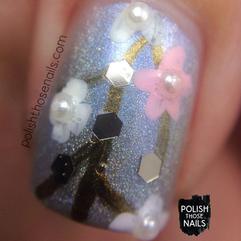 nails, nail art, nail polish, silver, floral, polish those nails, macro
