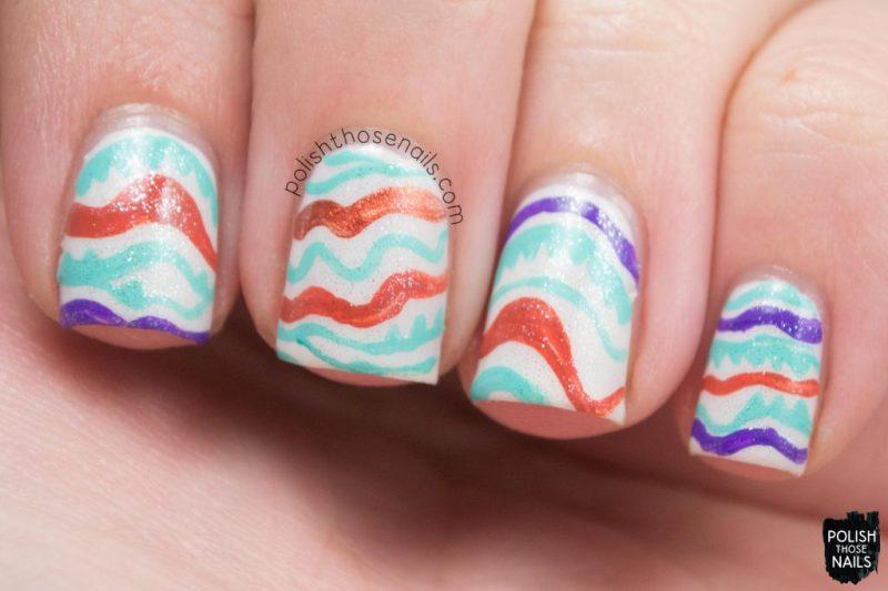nails, nail art, nail polish, spring, polish those nails, wavy stripes